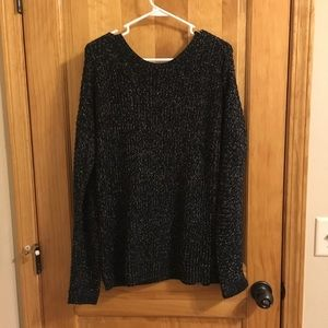Black knit sweater with crisscross back